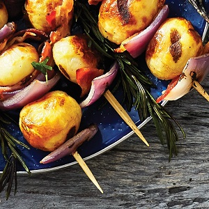 Grilled Mini Potato and Bacon Kabobs