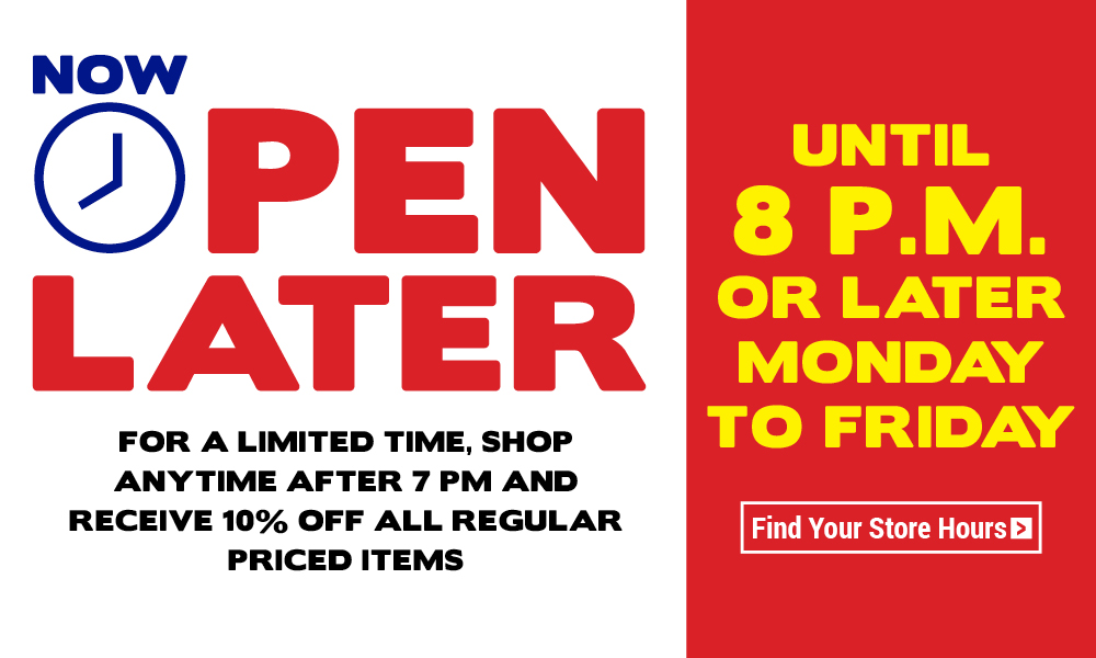 Now Open Later - Until 8pm - Get 10% off all regular prices items purchased after 7pm for a limited time