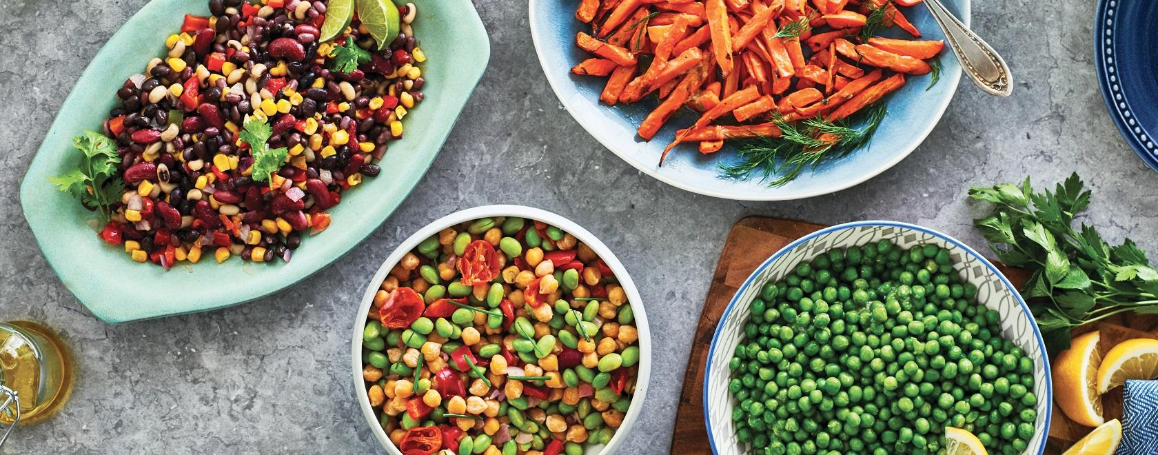 Plats de légumes et salades