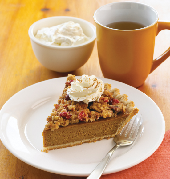 Pumpkin Pie with Cranberry Pecan Topping