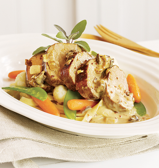 Pork Tenderloin with Apples, Prunes and Mustard Cream Sauce